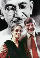 Arun Gandhi and his wife Sunanda